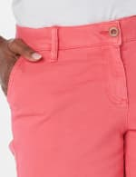 Fly Front Slant Pocket Shorts - Raspberry - Detail