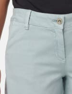 Fly Front Slash Pocket Short with Fray Hem - Aqua Mint - Detail