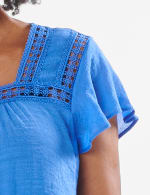 Crochet Trim Square Neck Textured Woven Top - Hydrangea Blue - Detail