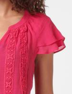 Crochet Trim Flutter Sleeve Textured Woven Top - 3