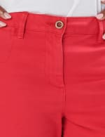 Fly Front Slash Pocket Shorts with Rolled Cuffs - Red - Detail