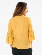 Textured Crochet V Neck Woven Top - MUSTARD - Back