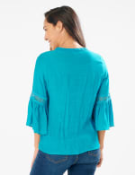 Textured Crochet V Neck Woven Top - Peacock Plume - Back