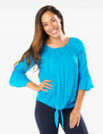 Textured Crochet Trim Tie Front Woven Top - Hawaiian Teal - Front