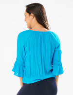 Textured Crochet Trim Tie Front Woven Top - Hawaiian Teal - Back