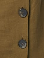 Big Button Linen Dress - Olive - Detail