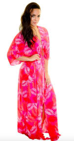 Pink Palm Swim Kimono - Pink - Detail