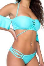 Two Piece Off-Shoulder Strappy Bikini - Blue - Detail
