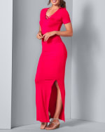 Ruched Side Maxi Dress With Criss-Cross Detail - Red - Front