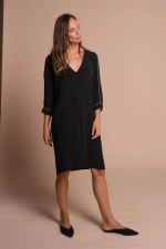 Heather V-Neckline Midi Dress - Black  - Front