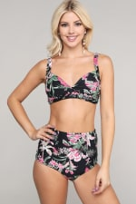 Rizzo Retro Inspired High Waist Bikini Set - Bird - Front