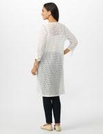 Shirred Sleeve 2 Pocket Duster - White - Back