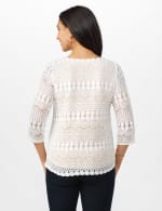 Crochet Lined Knit Top - Ivory/Nude - Back