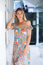 Off-Shoulder Maxi Dress - Multi - Detail