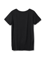 Knot Front Rayon Span Knit Tee - Black - Back