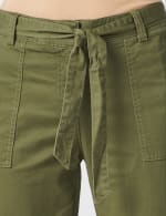 Garment Washed Twill Rolled Hem Tie Waist Pants - Olive - Detail