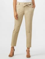 Garment Washed Twill Rolled Hem Tie Waist Pants - Tan - Front