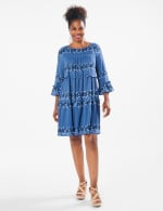 3/4 Sleeve Tiered Floral Babydoll Dress - Denim Blue - Front