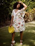 Marina Short Flutter Sleeve Floral Surplice Dress - Plus - 2