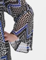 Chevron Chiffon Jacket Dress - Black/blue - Detail