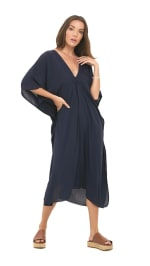 Flutter Sleeve V-Neck Tunic Dress - Navy - Front