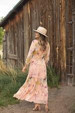 Veronica Peach Floral Peasant Maxi Dress - Cantaloupe - Back
