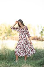 Alexa Floral Midi Peasant Dress - Ivory/maroon - Front