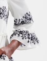 Babydoll Vine Floral Dress - Ivory/Black - Detail