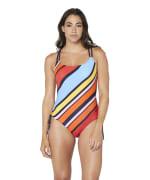 Nautica® Newport Stripe Cross Back One Piece Swimsuit - Multi - Front