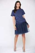 Krystal Knit Top - Navy - Front