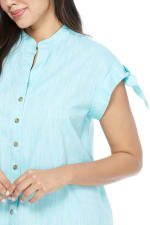 Blue Shirt Dress - Turquoise - Detail