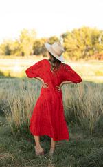 Embroidered Midi Babydoll Dress - Red/Orange - Back