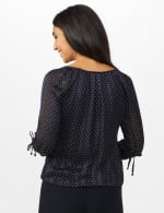 Navy Dot Tie Sleeve Bubble Hem Blouse-Petite - Navy/white - Back