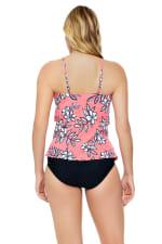Penbrooke Catalina Coral Hi Neck Ruffle Tankini Swimsuit Top - Coral - Back