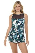 Penbrooke Jungle Exotic Swimdress Swimsuit - Multi - Front