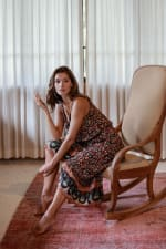 Thin Strap Maxi Dress - Brown - Back