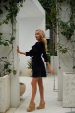 Short Velvet Cocktail Dress - Black - Front