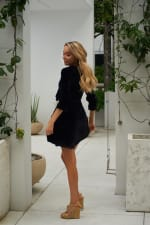 Short Velvet Cocktail Dress - Black - Back