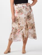 Plus Faux wrap hi low pull on skirt - Khaki/Coral/Black - Front