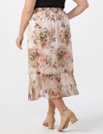 Plus Faux wrap hi low pull on skirt - Khaki/Coral/Black - Back