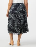 Bias Cut 4 Tiered Elastic Waist Pull On Skirt - Navy/Ivory - Back