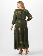 Embroidered Texture Peasant Dress - Plus - dark olive - Back