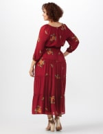 Embroidered  Textured Peasant Dress-Plus - Rust - Back