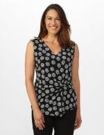 Sleeveless Geo Puff Print Knot Front Top - 1
