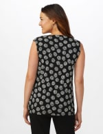 Sleeveless Geo Puff Print Knot Front Top - 2
