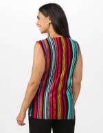 Multi Stripe Knot Front Knit Top - Multi - Back