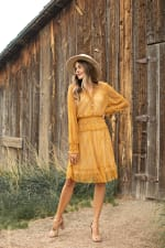 Lace Short  Peasant Dress - mustard - Front