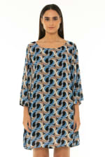 7/8 Sleeve Short Dress Escher Dark Blue - Escher Dark Blue - Front