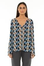 Long Sleeve Blouse Escher Dark Blue - 1