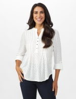 Eyelet Knit Pintuck Popover - White - Front